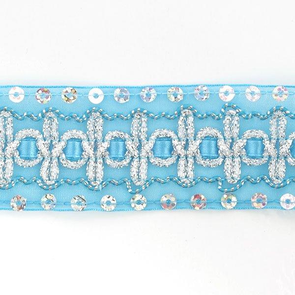 Тесьма с пайетками TBY арт.TH182 шир.38мм цв.020 голубой уп.18,28м, TBYTH18220