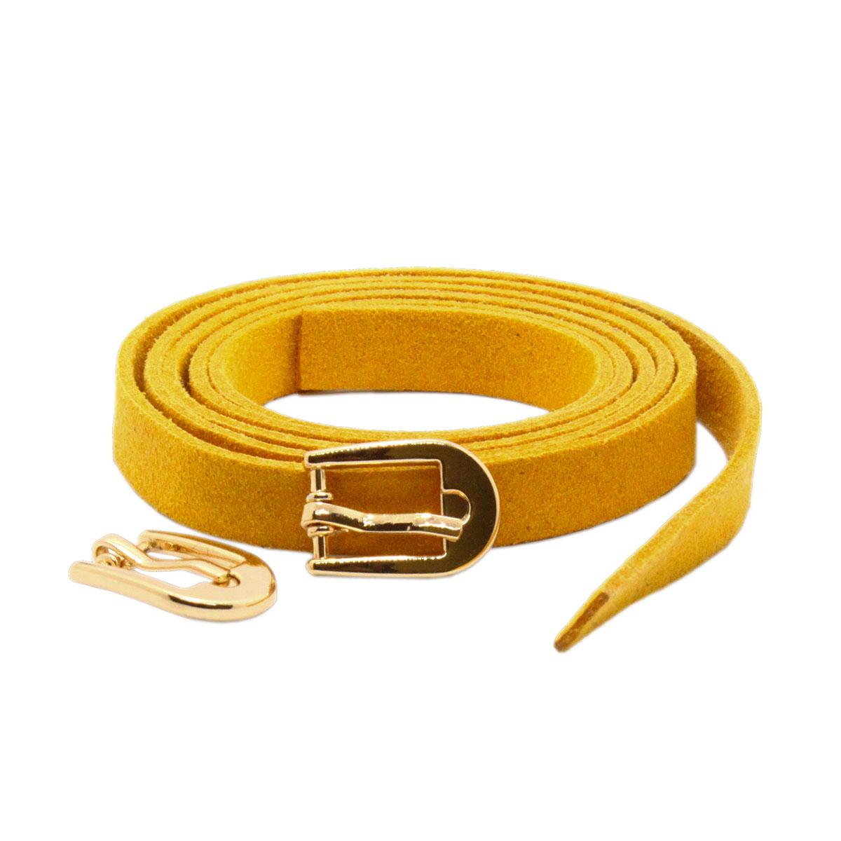 28848 Ремешок горч. из иск.замши 0,9см*0,8м. + пряжка мини С3271 золото упак/2 шт.