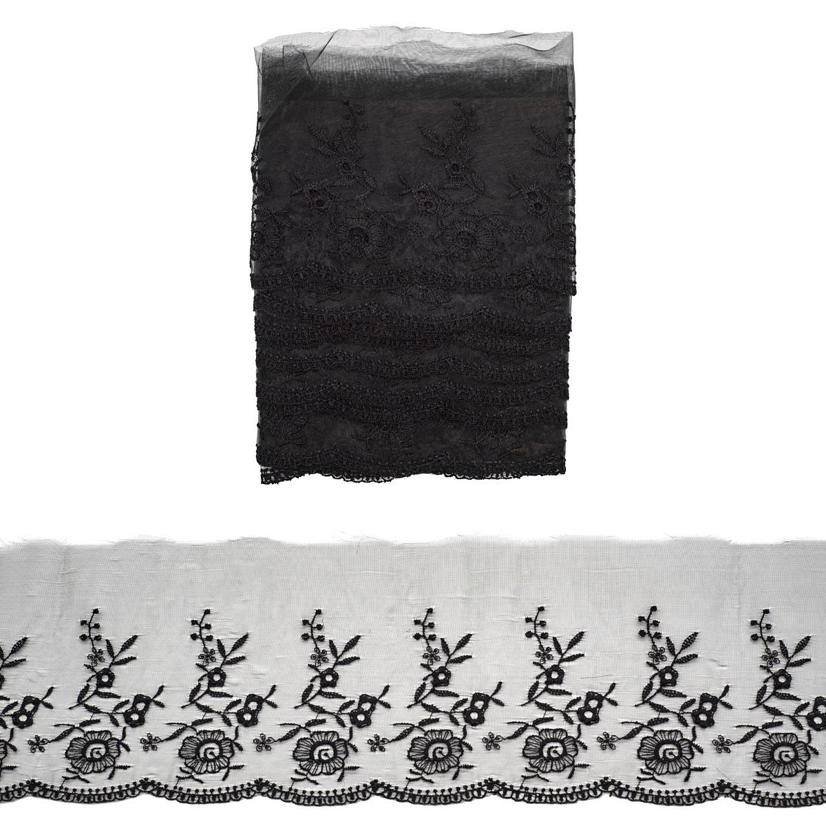 Кружево капрон 11см*3,4 м (+/- 4 см) 0574-5001, черный