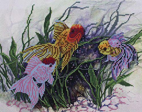 БН-3050 Набор для вышивания бисером Hobby&Pro 'Золотые рыбки', 30*25 см