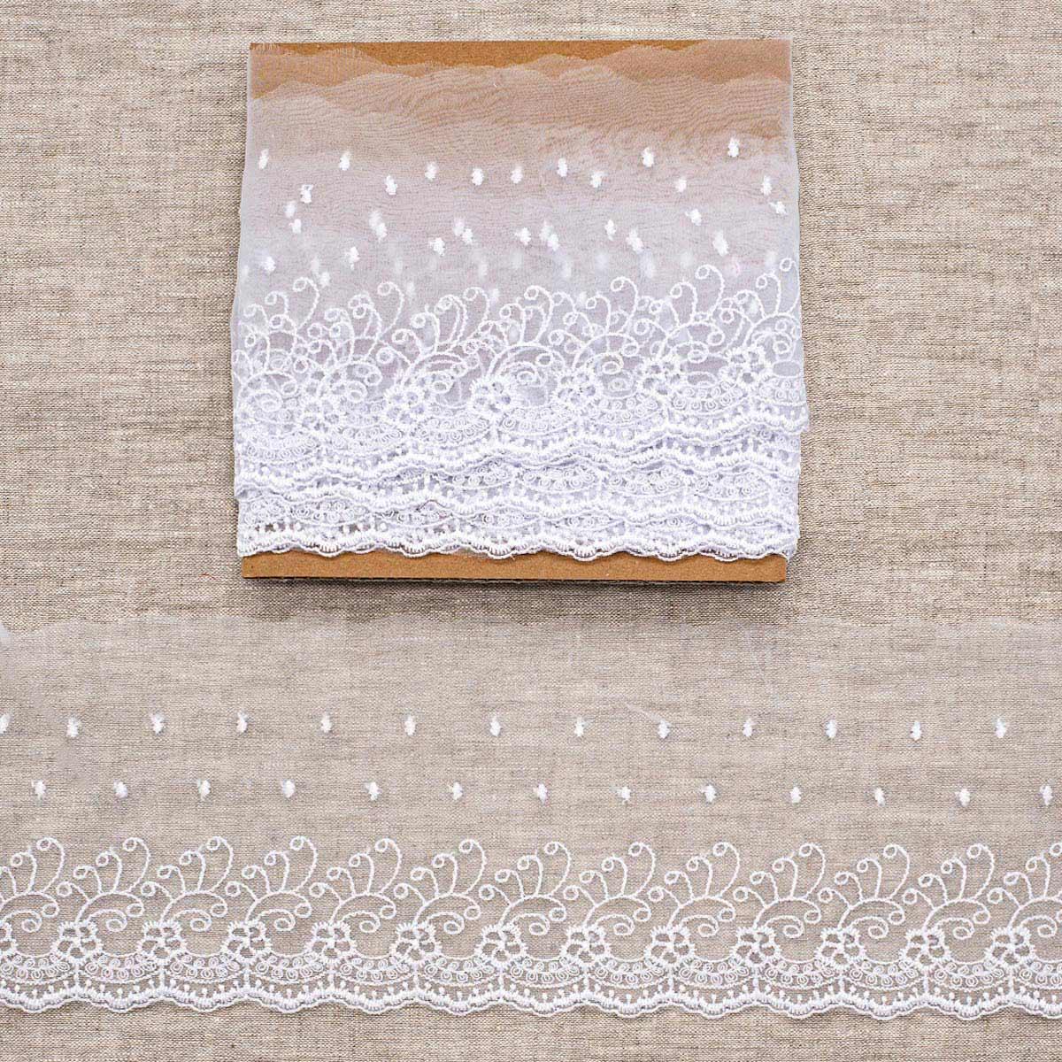 Кружево капрон 12,7см*3,4 м (+/- 4 см) 0574-5002, белый