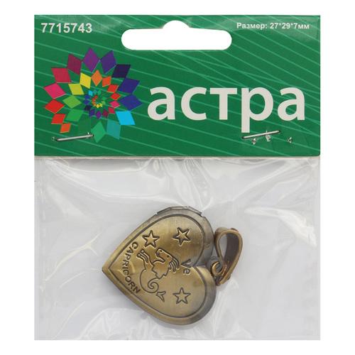 FIN2848 Подвеска декоративная 'Козерог', 27*29*7мм, 1шт/уп, Астра