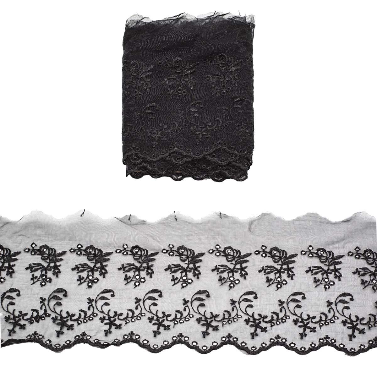 Кружево капрон 16,7см*3,4 м (+/- 4 см) 0574-6002, черный