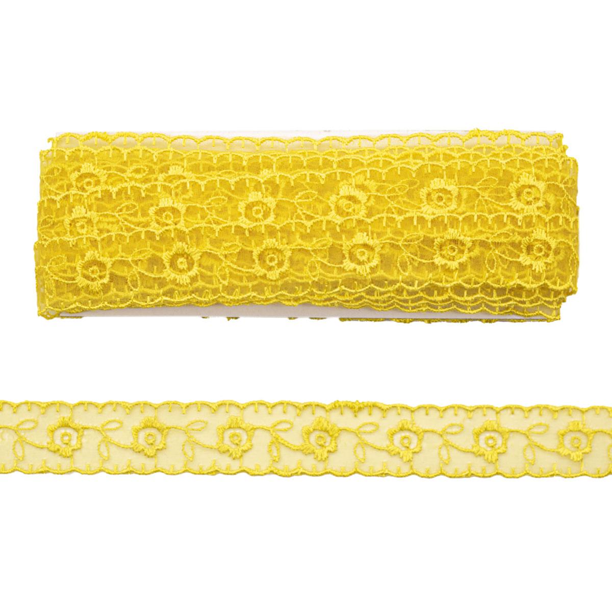 Кружево капрон 2,2см*6,8 м (+/- 4 см) 0574-1003, A517 желтый