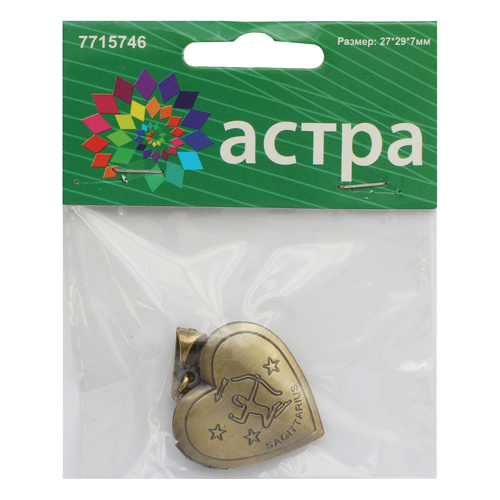 FIN2851 Подвеска декоративная 'Стрелец', 27*29*7мм, 1шт/уп, Астра