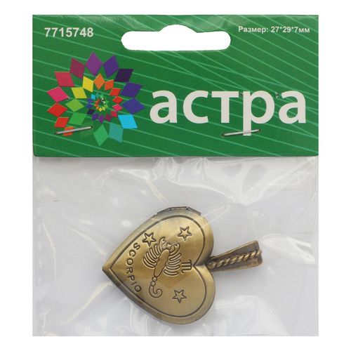 FIN2853 Подвеска декоративная 'Скорпион', 27*29*7мм, 1шт/уп, Астра