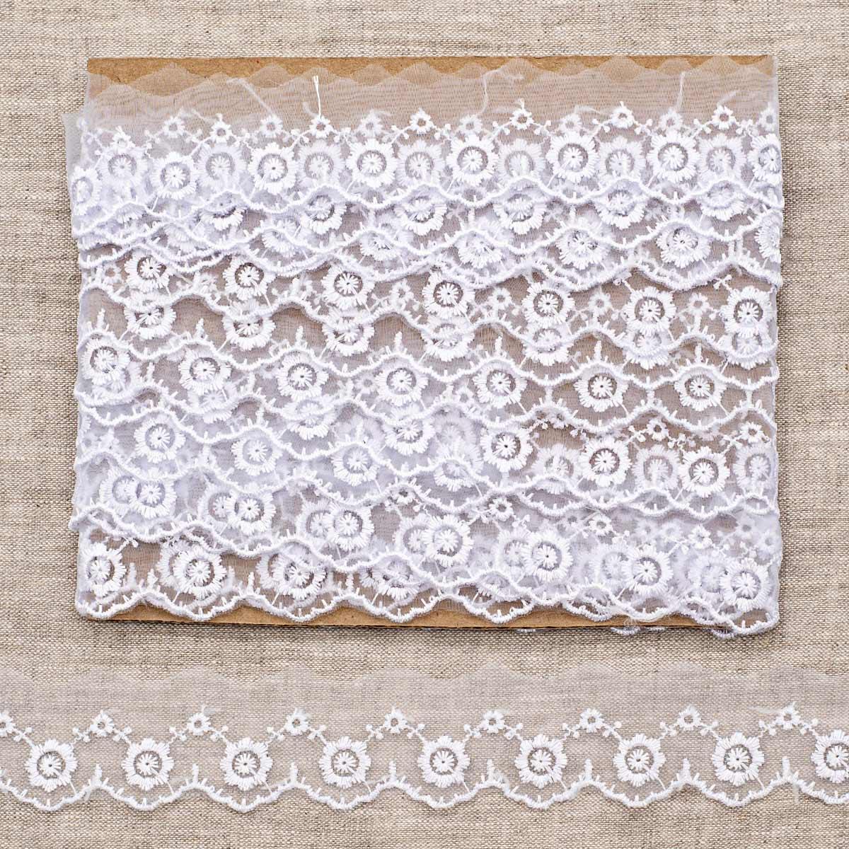 Кружево капрон 3,6см*6,8 м (+/- 4 см) 0574-1019, белый