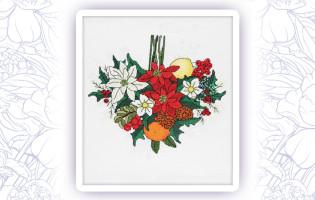 003 Набор для вышивания крестом Astrea 'Пуансеттия сердце. Декабрь' 23х22см