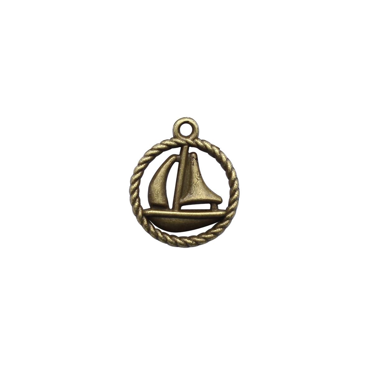 4AR024 Подвеска металлическая кораблик,2шт/упак, Астра