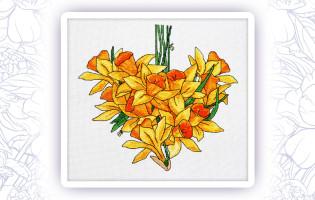 009 Набор для вышивания крестом Astrea 'Нарциссы сердце. Апрель' 26х24см