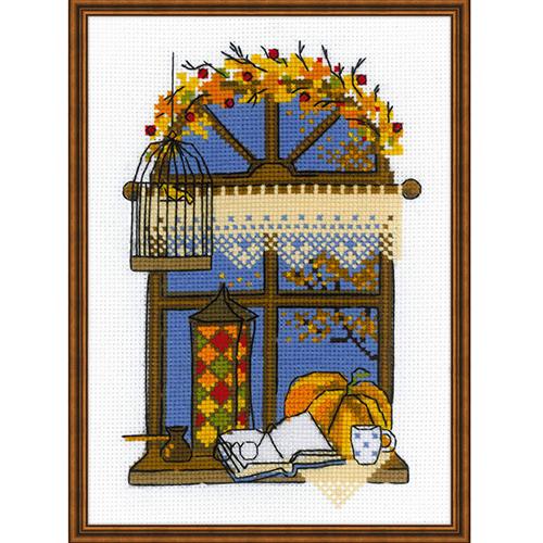 1593 Набор для вышивания Riolis 'Осеннее окошко', 15*21 см