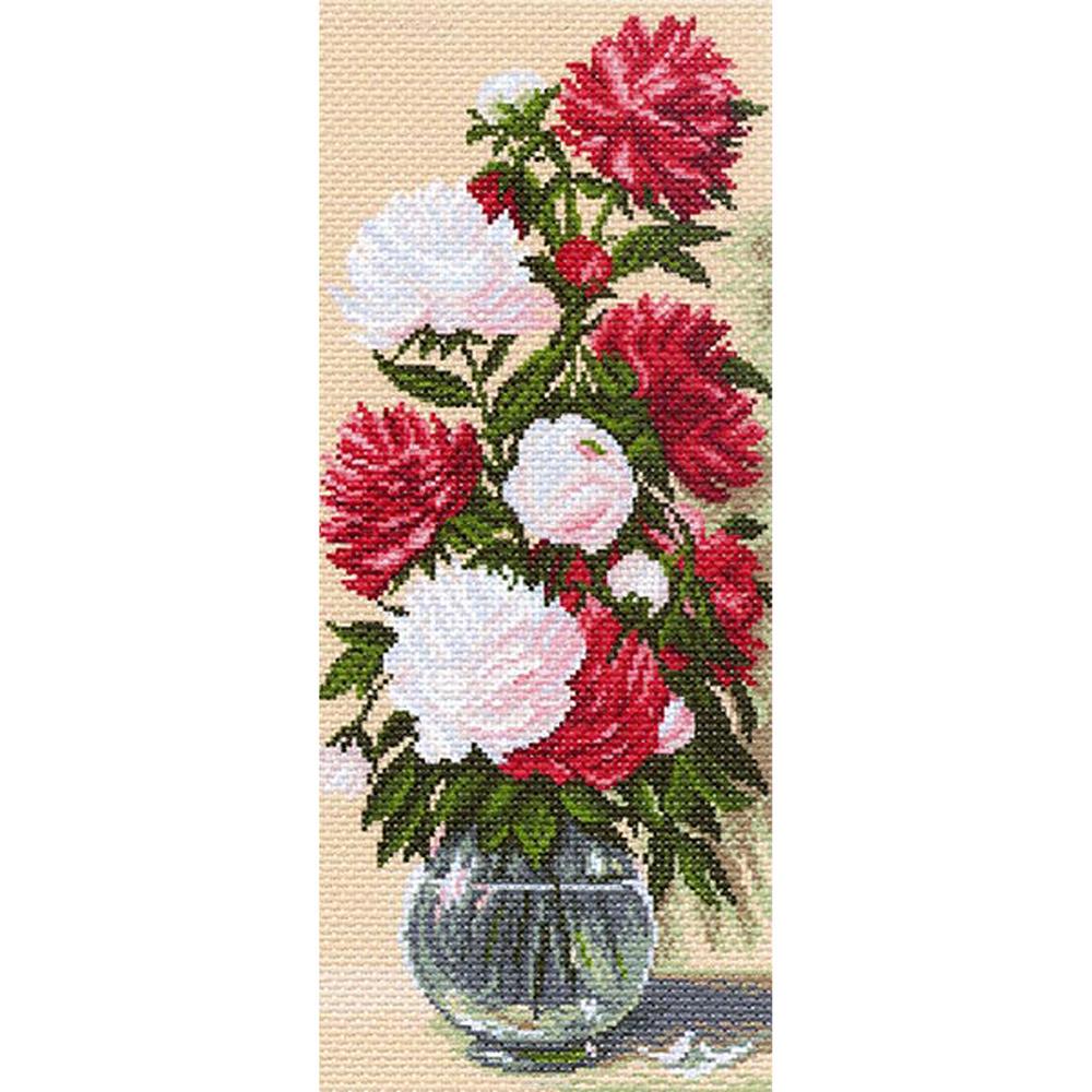 1058 Канва с рисунком 'Матренин посад' 'Пионы', 24*47 см