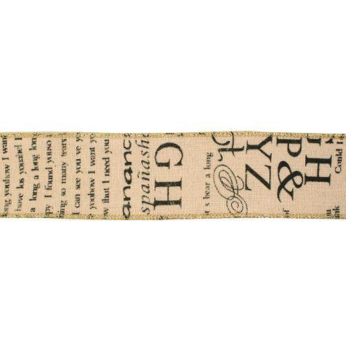 BF-015 Декоративная лента (джут) 'Буквы', 45 мм*20 м