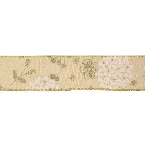 BF-018 Декоративная лента (джут) 'Летние цветы', 45 мм*20 м