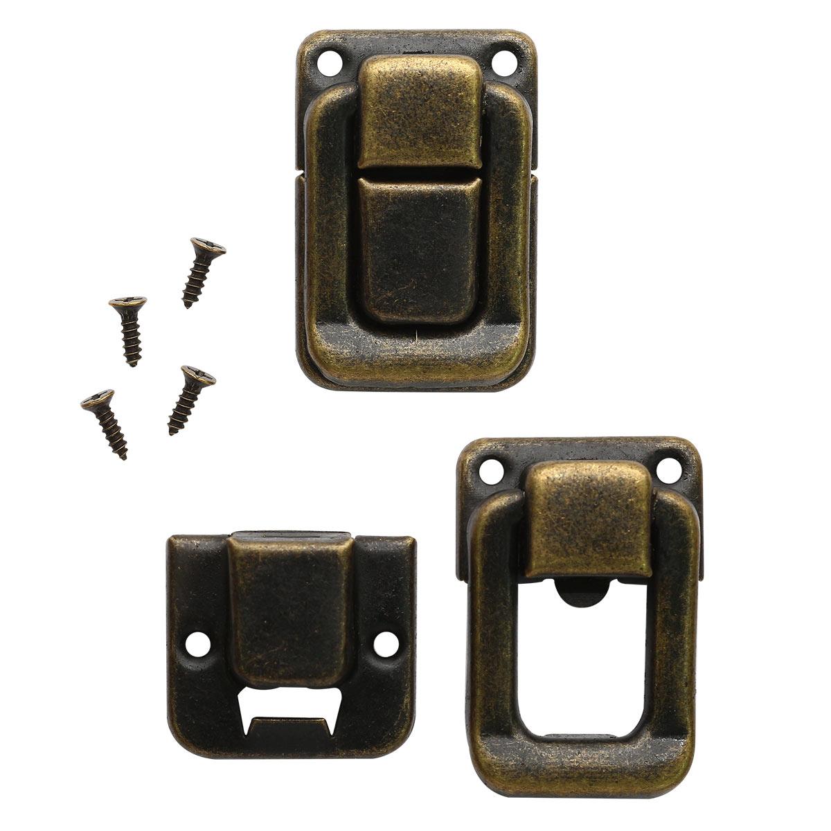 3539216 Замок металл бронза для шкатулки + гвозди упак/ 5 шт 3,6*2,5 см