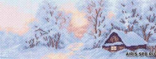 1202 Канва с рисунком 'Матренин посад' 'Морозное утро', 24*47 см