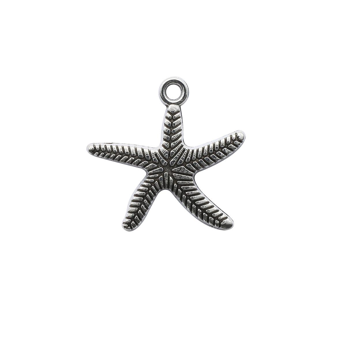 4AR040 Подвеска металлическая морская звездочка,2шт/упак, Астра