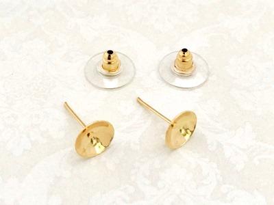 25559 Пусеты с пл. 7 мм+ застежка, уп.3 пары, цв.золото