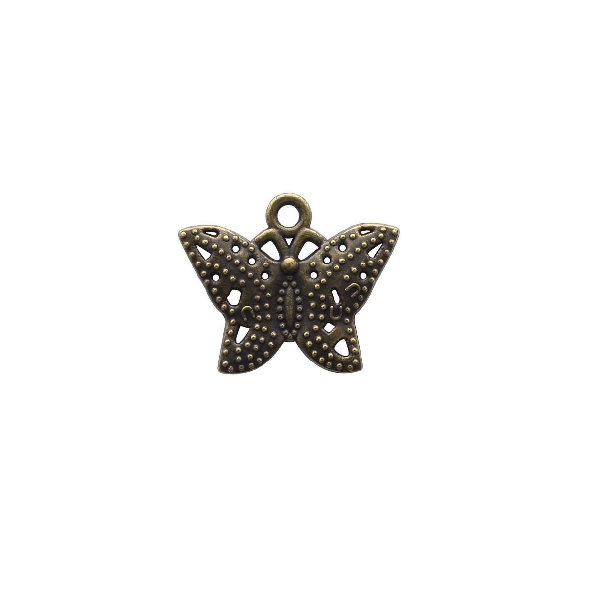4AR045 Подвеска металлическая бабочка бронза,2шт/упак, Астра