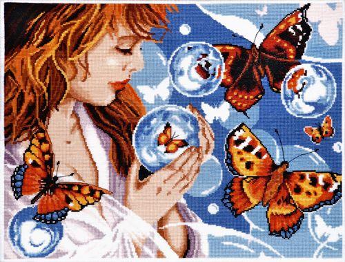 1182 Набор для вышивания Alisena 'Фантазия с бабочками', 38*28 см