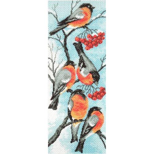 783 Канва с рисунком 'Матренин посад' 'Снегири', 24*47 см
