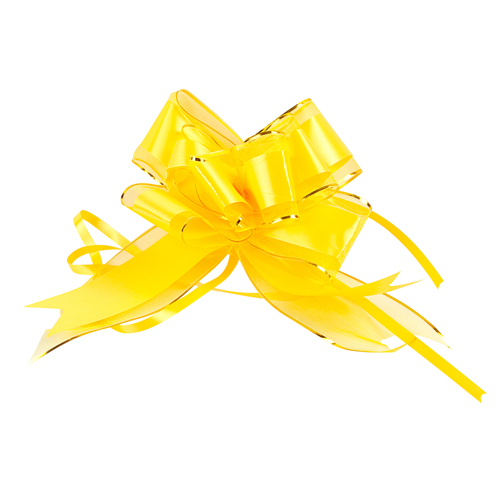 1020434 Бант-бабочка №7 органза с полосой пластик, жёлтый