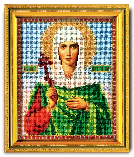 В-308 Набор для вышивания бисером Кроше 'Св. Антонина', 14,5x12см