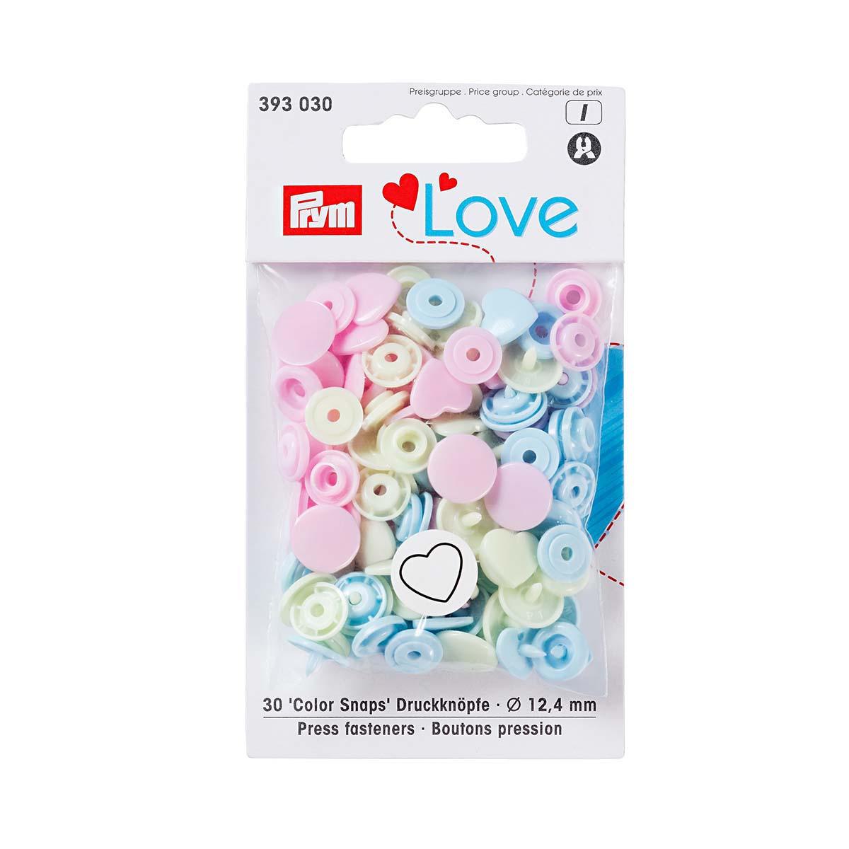 393030 PrymLove Кнопки Color Snaps сердце 12,4мм розовый/зеленый, пастельный/синий, светлый 30 штук Prym