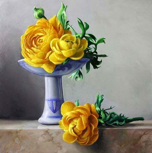 АЖ-1194 Картина стразами 'Алмазная живопись' 'Желтые пионы', 50*50 см