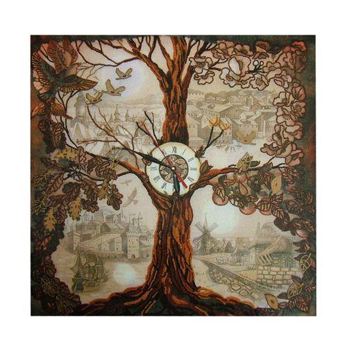 ЕМ1001 Набор для вышивания 'Нова Слобода' 'Дерево-часы', 50x50 см