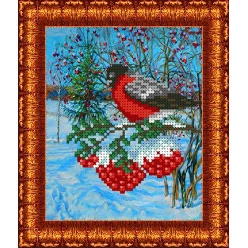 КБЖ-5009 Канва с рисунком для бисера 'Снегирь', А5