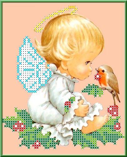 КБА-5001 Канва с рисунком для бисера 'Разговор с птичкой', А5