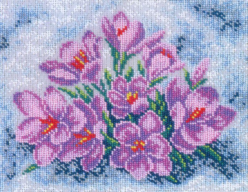 701 Набор для вышивания бисером 22,4*17,8см (Крокусы в снегу арт.КН-700)