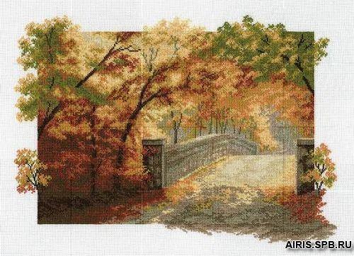 679 Набор для вышивания Hobby&Pro 'Осенний мост', 36*25 см