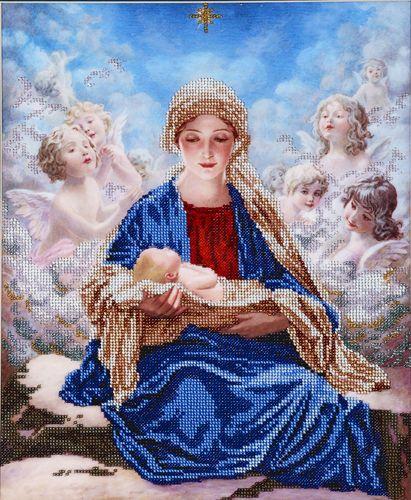 БН-3086 Набор для вышивания бисером Hobby&Pro 'Богородица с ангелами', 30*36 см