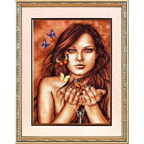 1090 Набор для вышивания Alisena 'Бабочки на ладонях', 28*40 см