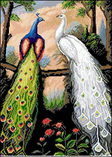 Ф-026 Канва с рисунком 'Гелиос' 'Павлины', 32,5х43,5 см