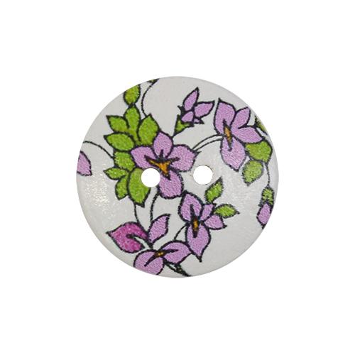 HY070467 Пуговицы деревянные круглые 20 мм Цветочки сиреневые, 100 шт