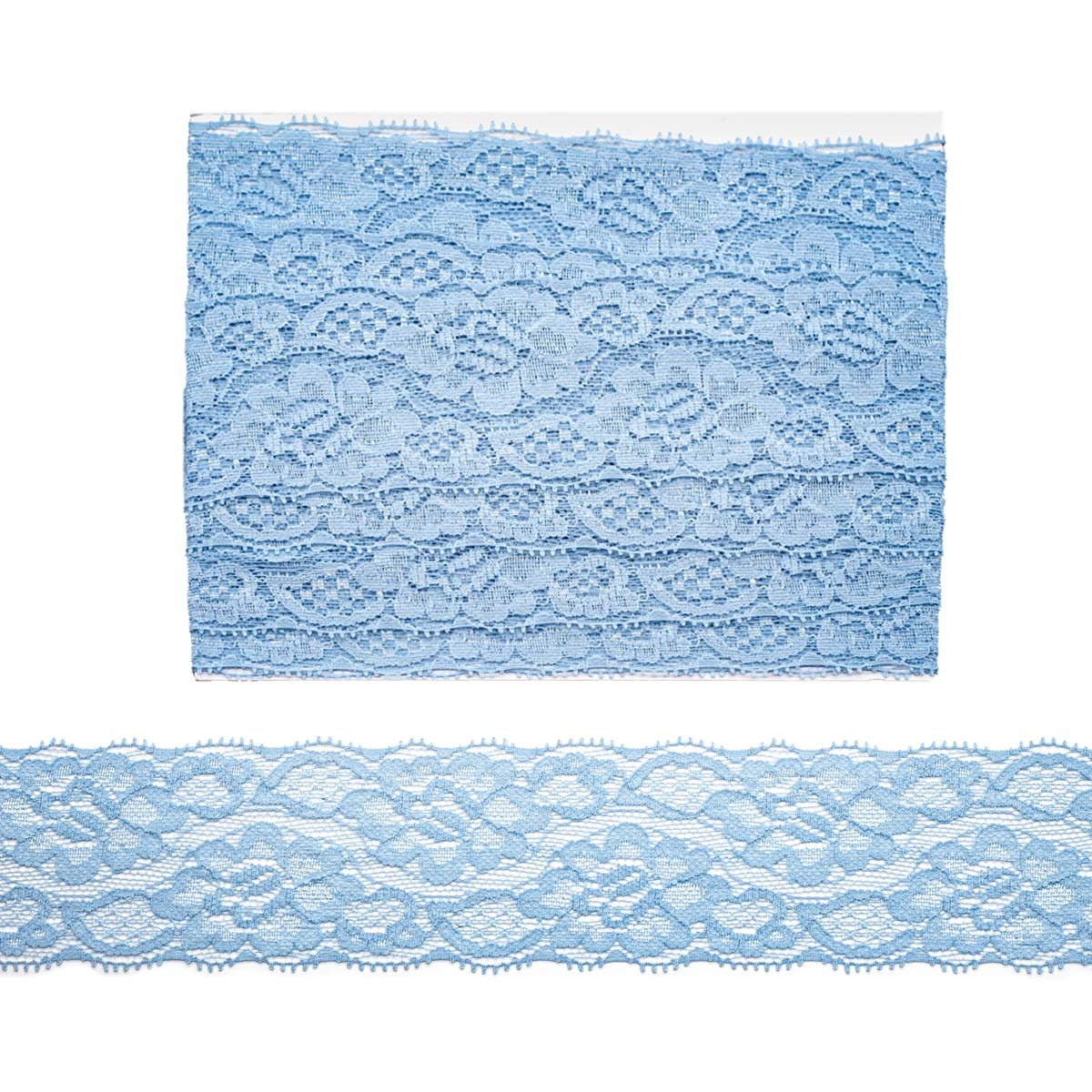 Кружево эластичное EL-35, 58мм* 5 м (+/- 4 см), JD040 голубой