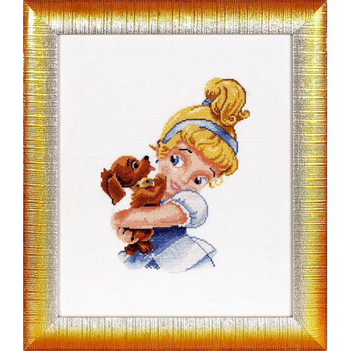 1095 Набор для вышивания Alisena 'Девочка с собачкой', 16*22 см