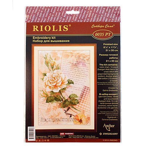 РТ-0035 Набор для вышивания Riolis 'Письма о любви. Роза', 21*30 см