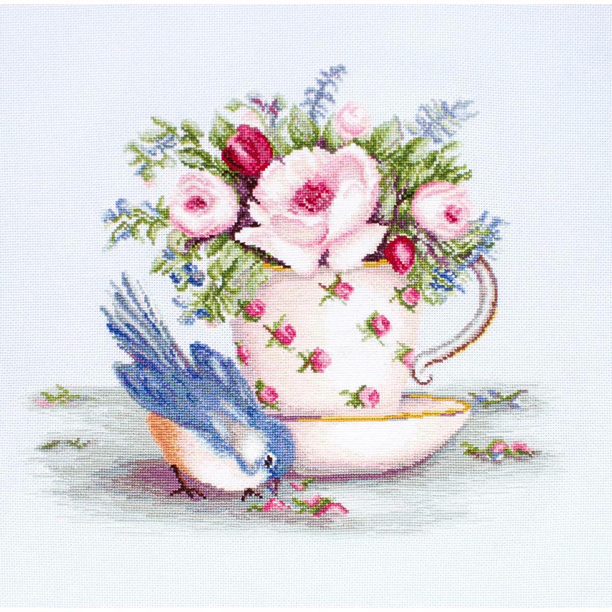 B2324 Набор для вышивания 'Птичка и чашка чая' 27,5*23,5см, Luca-S