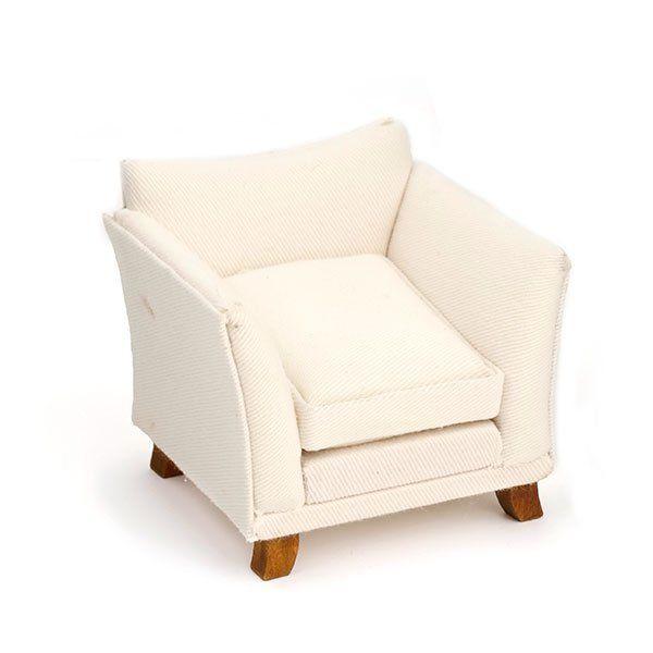 AM0102010 Кресло, белая ткань, 8*8*8см