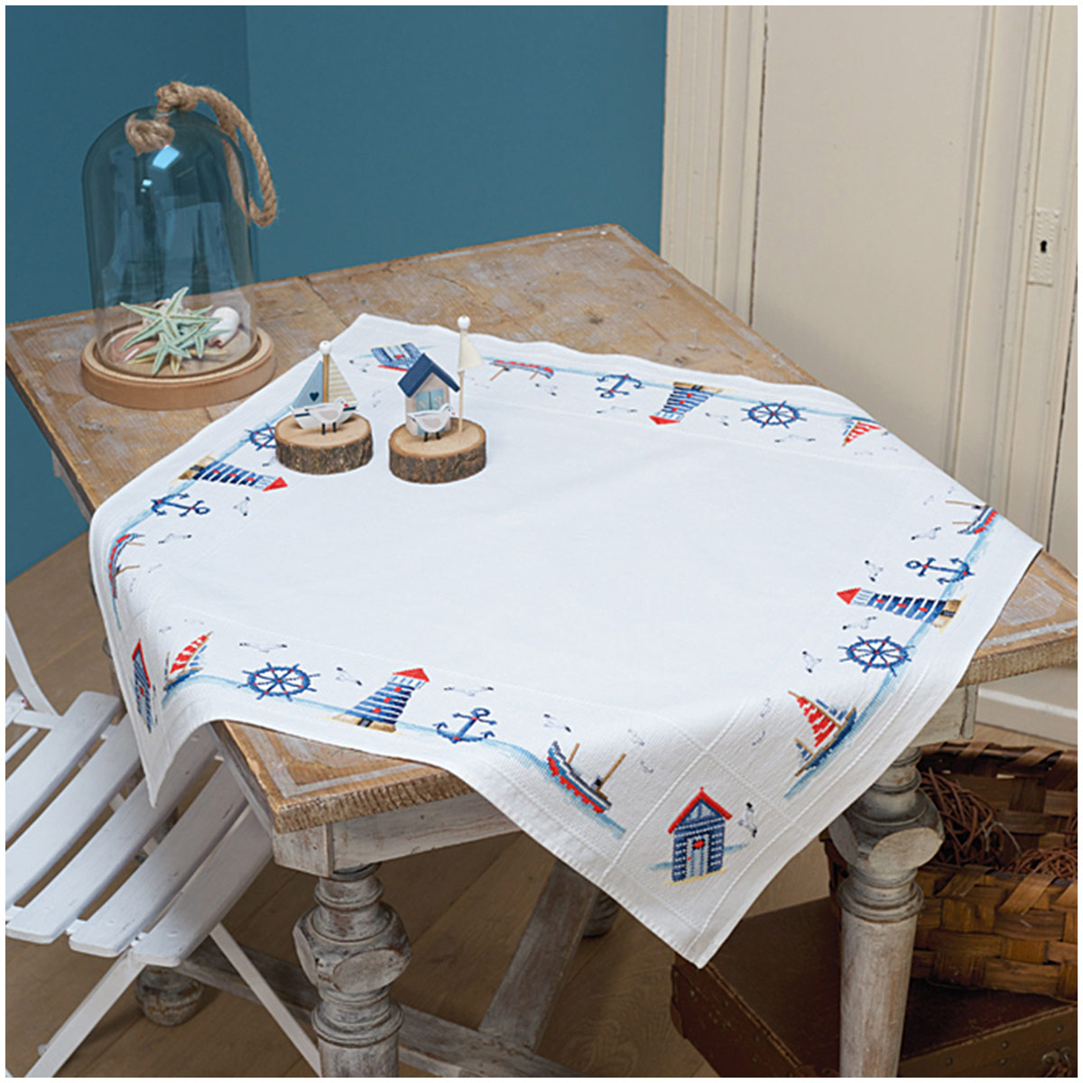 PN-0147141 Набор для вышивания скатерти Vervaco 'Морской мотив' 80х80см