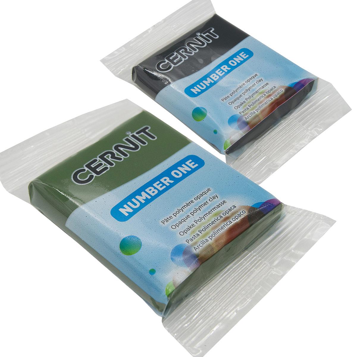 Набор пластики полимерной запекаемой 'Cernit № 1' 56-62 гр. 2 шт, 100 черный/645 оливковый