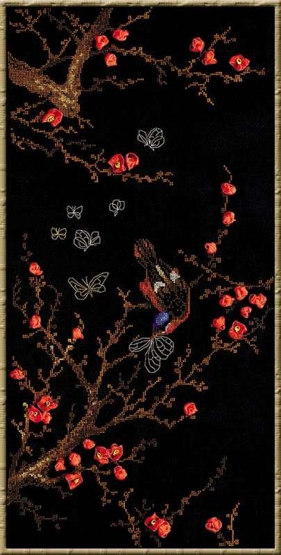 1062 Набор для вышивания Риолис 'Цветущая ветвь', 60x30см
