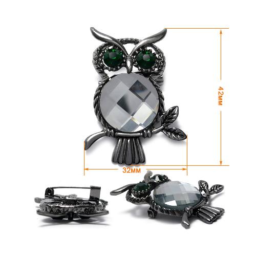 ГСХ574 Украшение 32*42мм, черный никель/серый страз