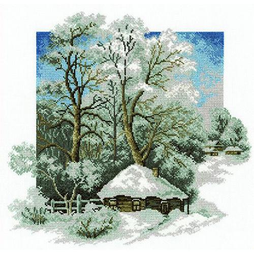 680 Набор для вышивания Hobby&Pro 'Зима в деревне',28*27 см