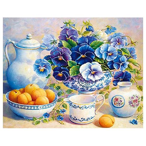 АЖ-1370 Картина стразами 'Алмазная живопись' 'Фиалковый цвет', 50*40 см
