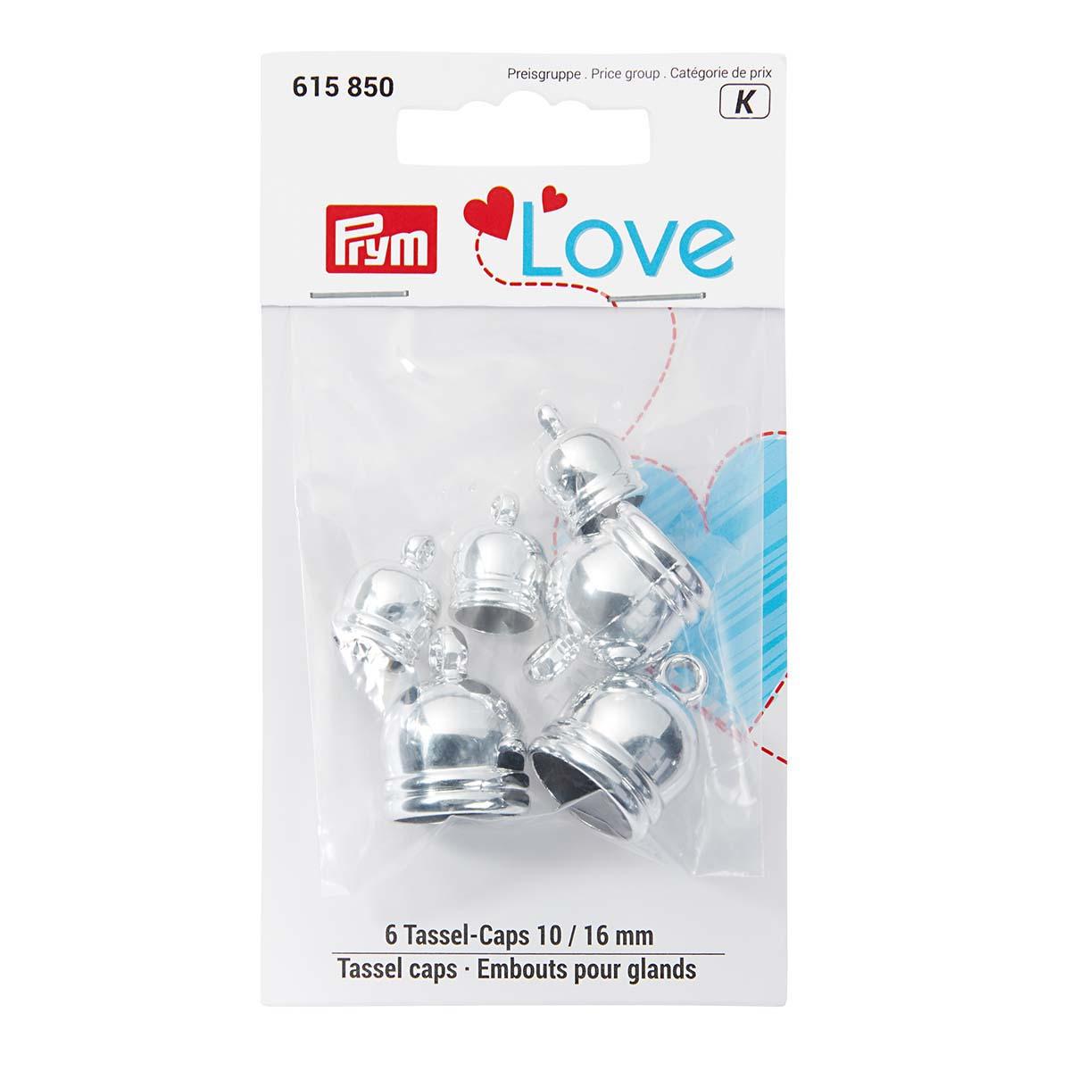 615850 Концевики для кистей Prym Love 10+16мм цв.серебристый 6шт